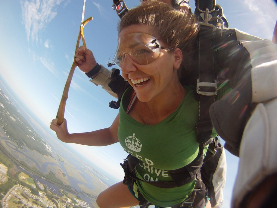 Hot girl skydiving with Keep Calm Chive On shirt