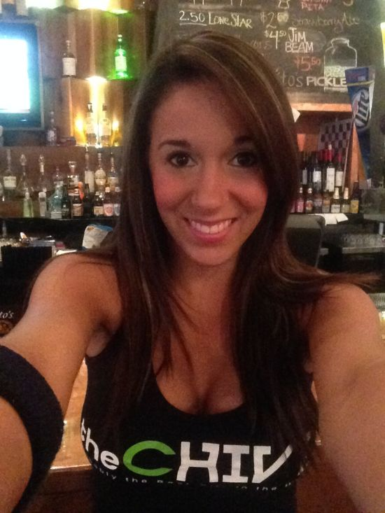 Brunette with supple round big boobs takes selfie in cleavage showing theChive black top
