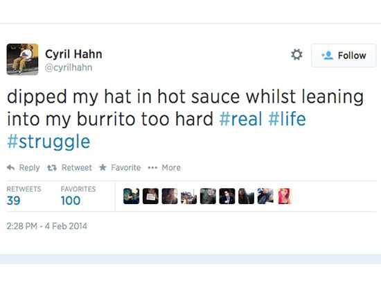 Cyril Hahn tweet about hot sauce in his burrito