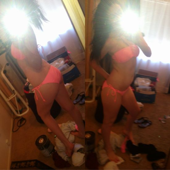 Brunette with perky boobs and booty, flat abs, slender legs, and slim sexy curvy hot body takes selfie in red bikini in messy room