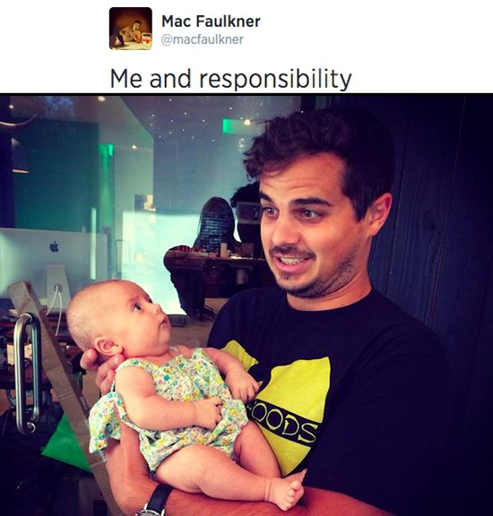 """Mac holding baby, """"me and responsibility"""""""