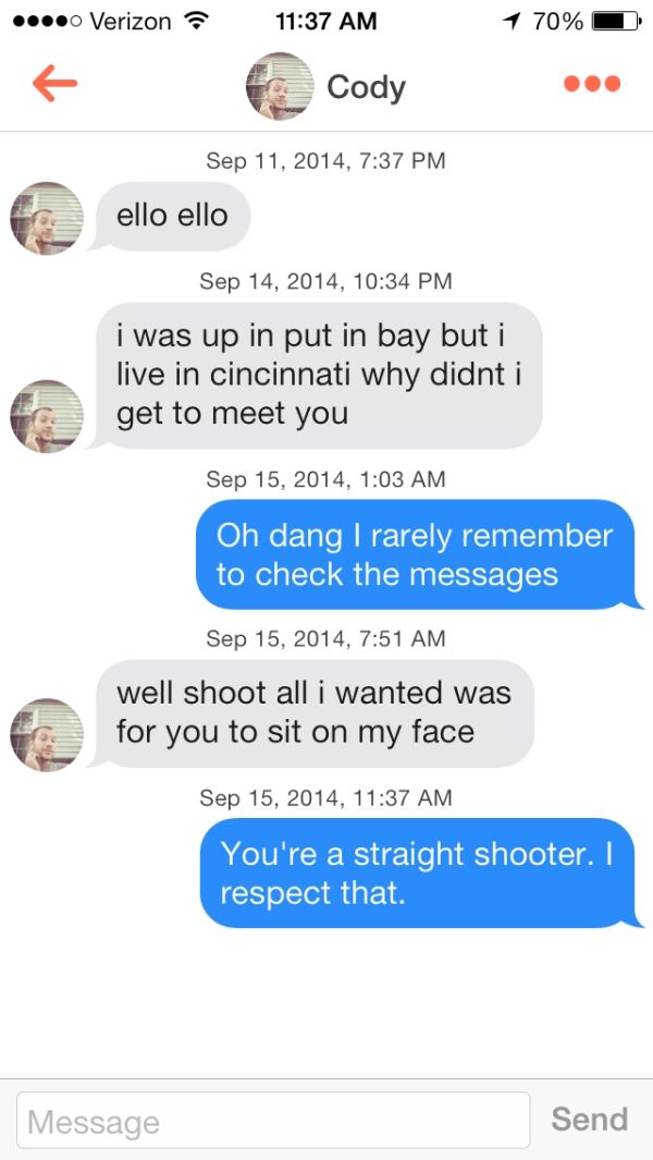The weird things people say on TInder