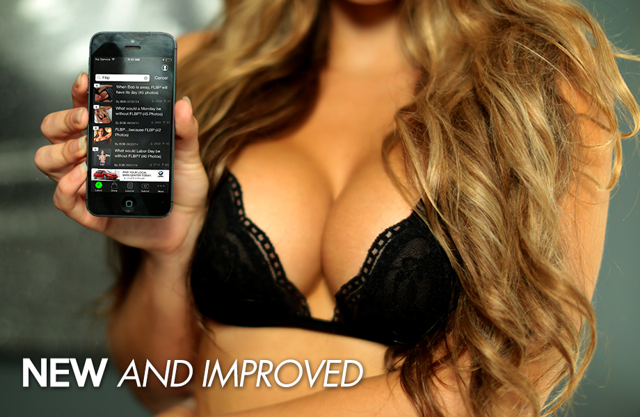 Hot blonde woman showing her large perky cleavage and THE CHIVE app on mobile phone