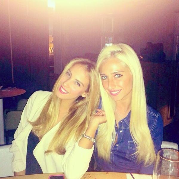 Blonde girls smiling in denim jean shirt