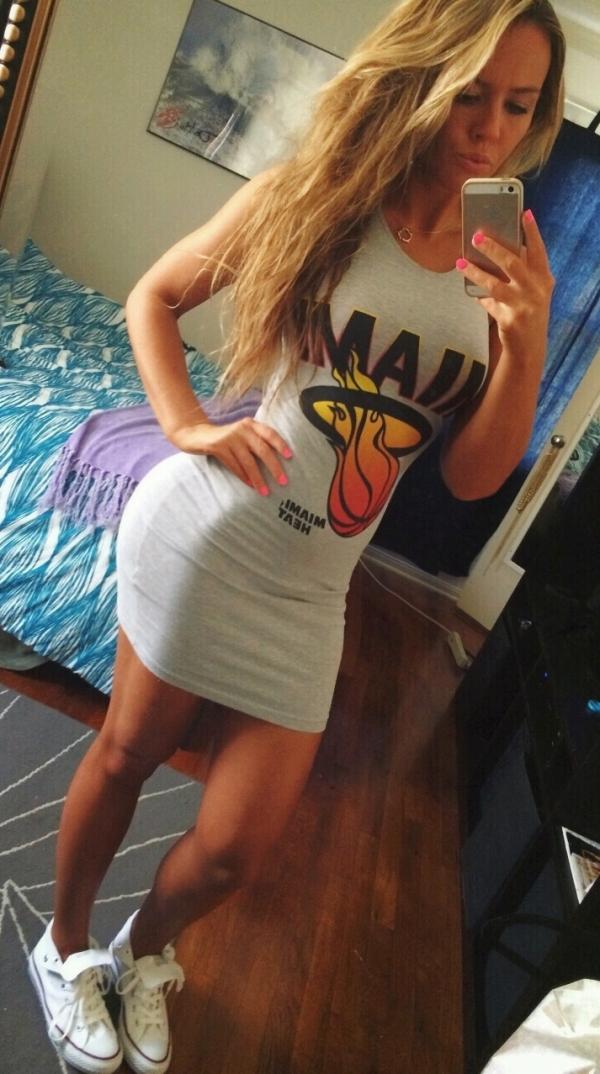 Girl in Miami Heat dress