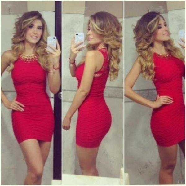 Girl in tight red dress
