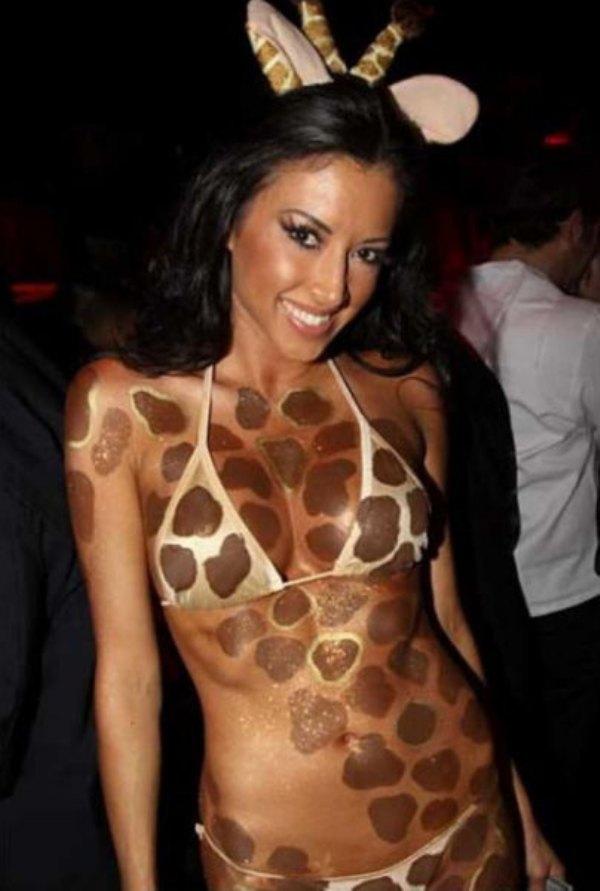 Girl in sexy giraffe costume