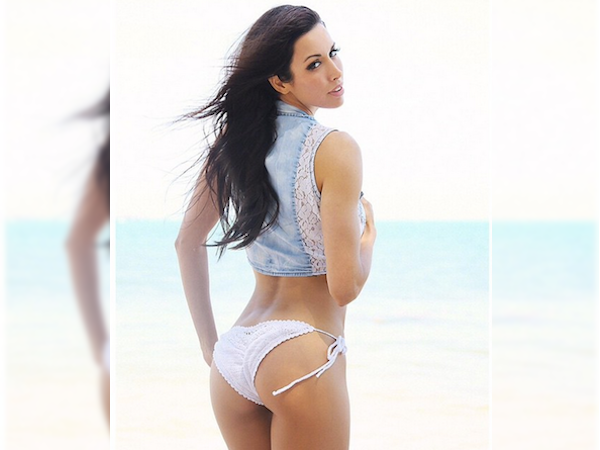 former UFC ring girl Edith Labelle shows off her sexy booty in white lace, side knotted thong with white lace work denim crop top