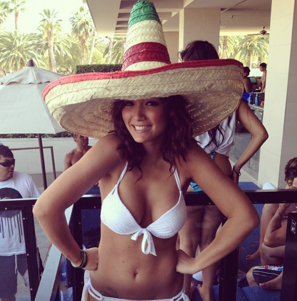 hot model Misa Campo shows off her perky boobs in cool white bikini with traditional big canned hat