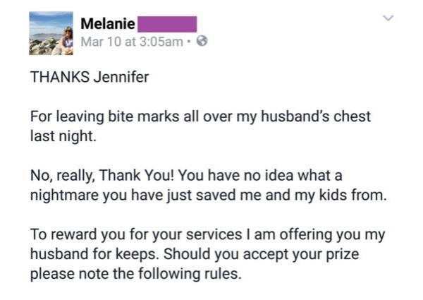 angry wife writes letter mistress husband 0 Scorned wife writes a clever but cutting  letter to her cheating husbands mistress (9 Photos)