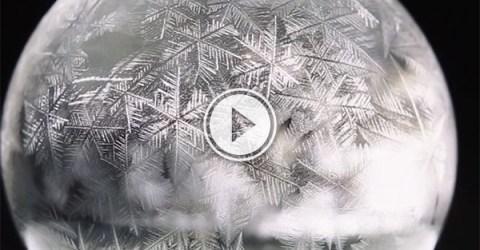 Freezing soap bubbles (Video)