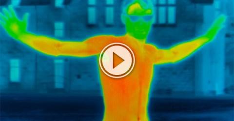 Infrared camera tracks heat loss (Video)