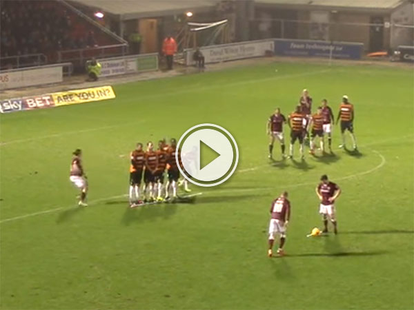 Barnet players kicks ball away at free kick (Video)