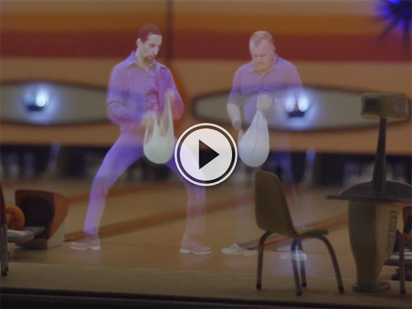 Scaled sets of classic film scenes using holograms (Video)