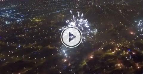 Drone films fireworks over Lima, Peru (Video)