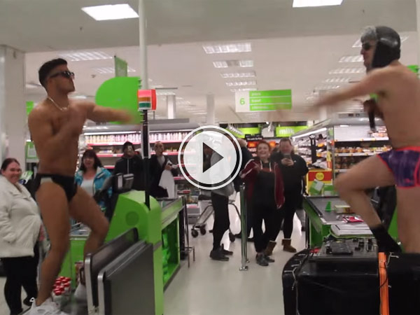Guys in barely any clothes have a rave in an asda supermarket in Huddersfield and it's awesome.