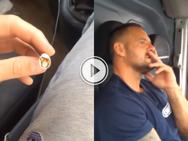 Guy pranks his friend by putting a banger in his cigarette.
