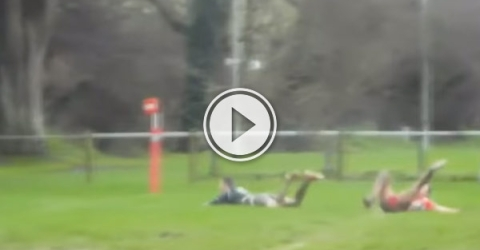 Brixham rugby club's Tom McLean thought he had scored what might have been the winning try, but he had actually dived over the five metre line.