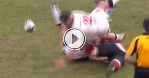 Oyonnax loose forward Maurie Fa'asavalu made this crunching hit on Ulster's Ian Humphreys on the weekend