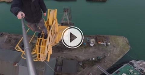 James Kingston: POV Adventures, climbs an old crane.