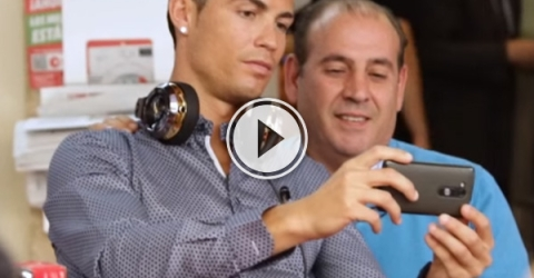 Watch what happens when Cristiano Ronaldo goes out for a cup of tea at a local cafe.