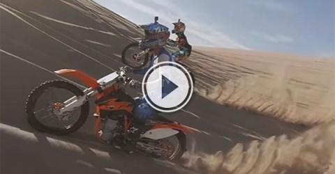 Dirt bike sand dune jumping (Video)