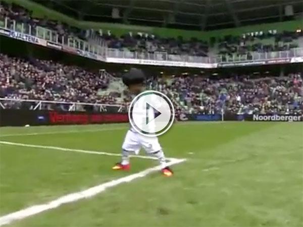 Little kid scores goal and celebrates like Cristiano Ronaldo (Video)