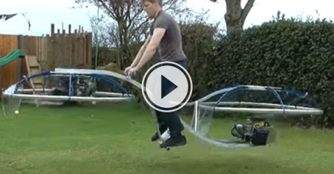 What a creation, it's a unhinged flying bike/human blender but unbelievably it gets off the ground and actually FLIES.