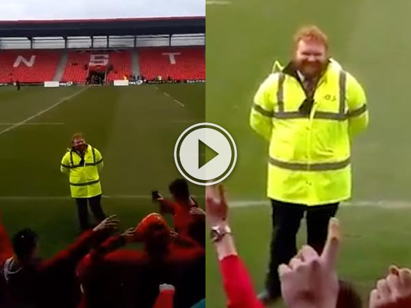 During a Junior Cup rugby match fans sing Ed Sheeran's 'Thinking Out Loud' to an Irish Independent Park.