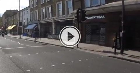 Guy on a penny farthing doesn't care for you rules.