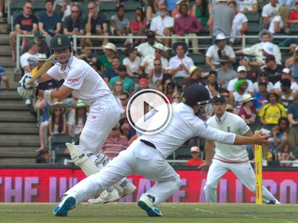 Stunning catch by James Taylor from England's seven-wicket win over South Africa in Johannesburg.