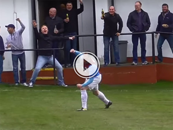 Large soccer player scores great goal (Video)