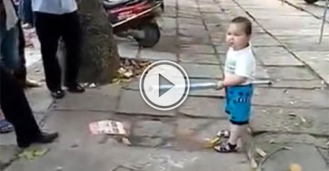 Toddler protects grandma from police (Video)