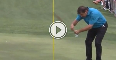 Filmed at the masters par 3 competition Nick Faldo has some fun with this putt.