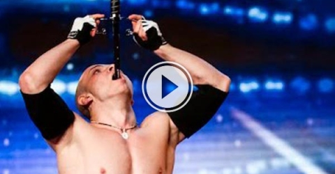 Alexandr Magala risks his life on the Britain's Got Talent stage.