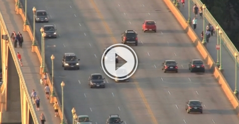 Cars traveling at high speed on a fly-over