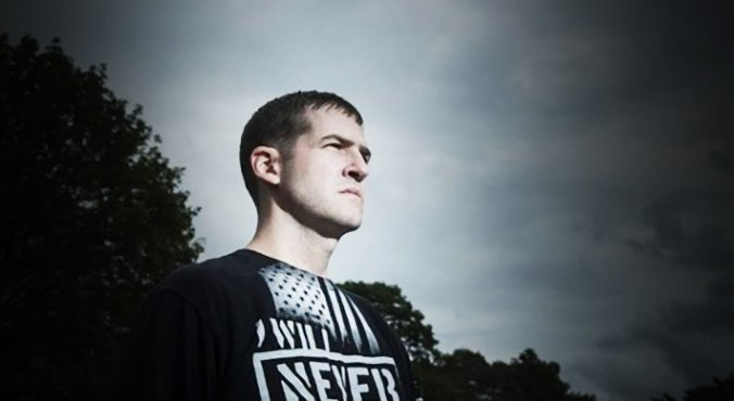An image of a combat veteran staring into the sun for a paper advertisement