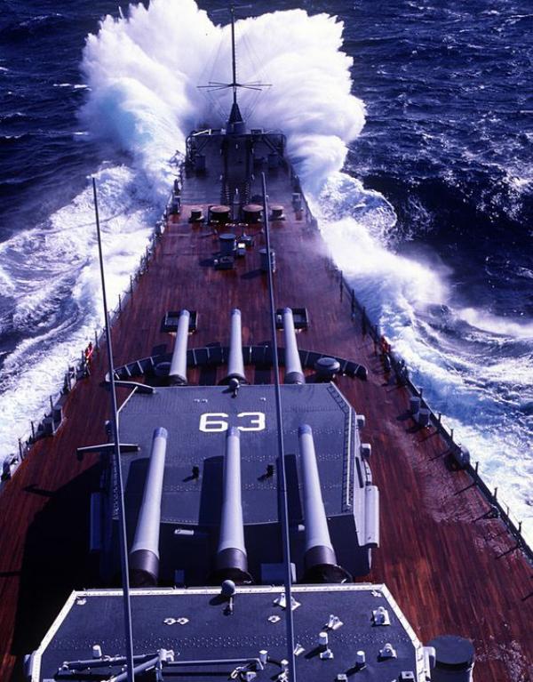 A photograph of USS Missouri's deck and AA guns.
