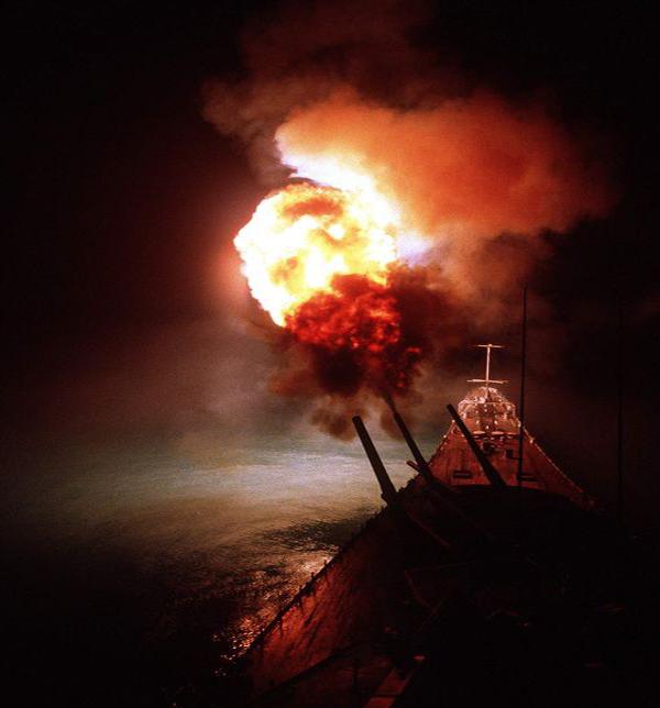 USS Missouri Battleship AA guns firing during Kamikaze attack