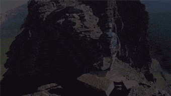Adrenaline junkie jumping on mountains escaping a fall. (gif )