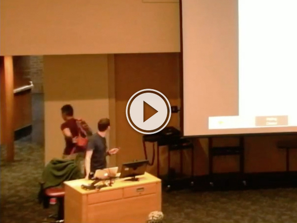 College lecture gets interrupted by sleeping kid (Video)