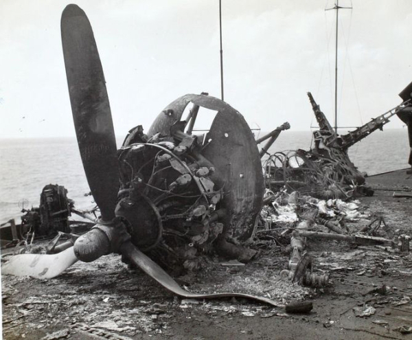 The wreck of the crashed fighter plane on the deck of USS Missouri