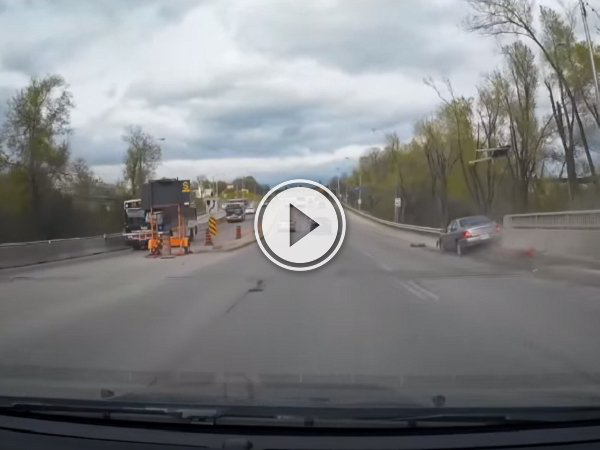 Dash cam catches potential drunk driver crashing (Video)