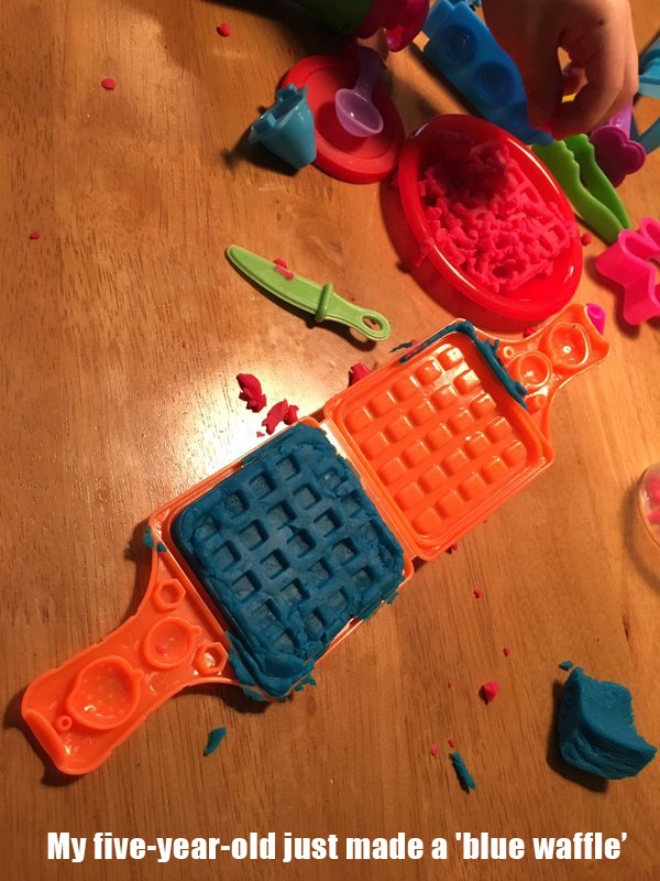 meme on  how a five year old made a blue waffle mess