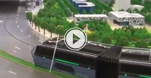 Video of a new concept elevated bus.
