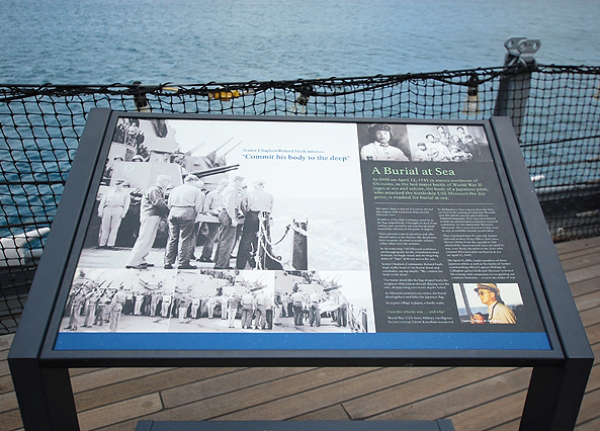 """Documentation and pictures of the day of kamikaze attack which states """"Burial At Sea"""""""