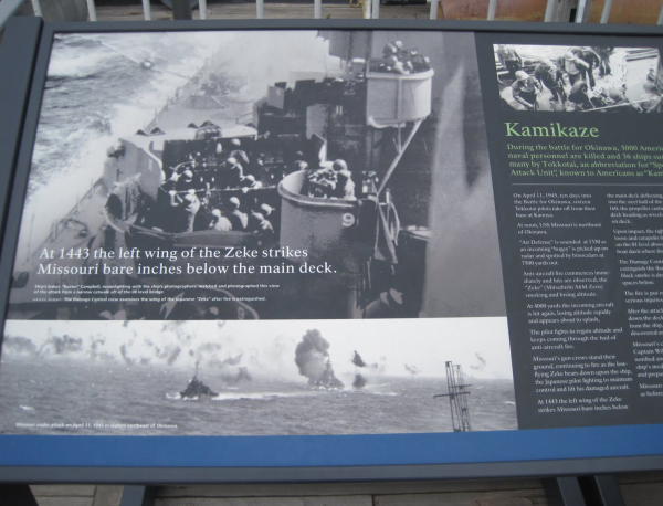 A documentation serving as memorial at the deck side where the aircraft striked along with other details of Kamikaze attack.