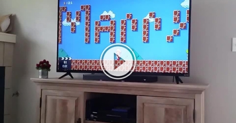 The popular game  'Mario' written as 'Marry' in a video