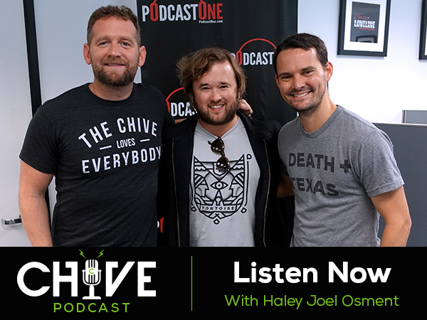 Photo of Haley Joel Osment with two guys as a promotion for Chive podcast!