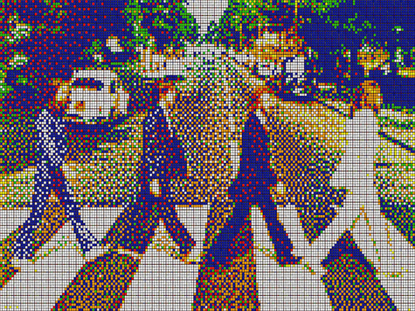 The Beatles Abbey Road cover picture in pixelated format!